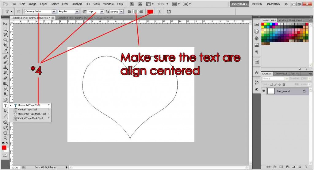 Fill shape with text