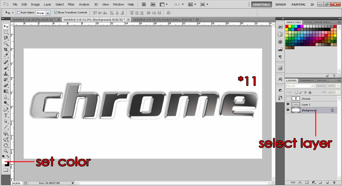 Create Chrome effects text | photoshop-tutorial org